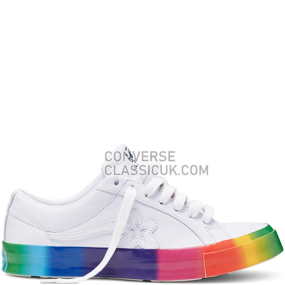 Converse x GOLF le FLEUR Rainbow One Star Low Top Mens 166409C White/White/Multi Shoes