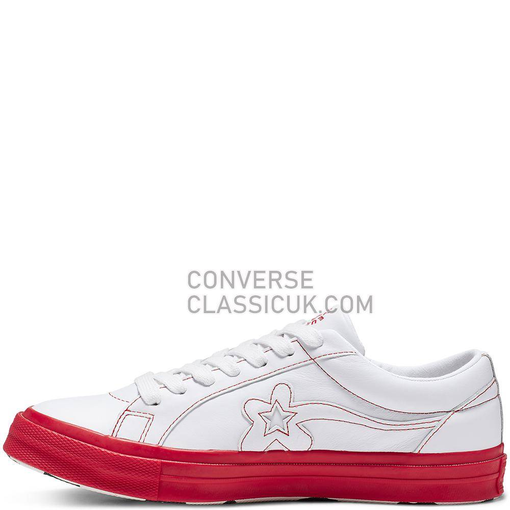 Converse x GOLF le FLEUR Colorblock One Star Low Top Mens Womens Unisex 164026C White/Antique/White/Racing/Red Shoes