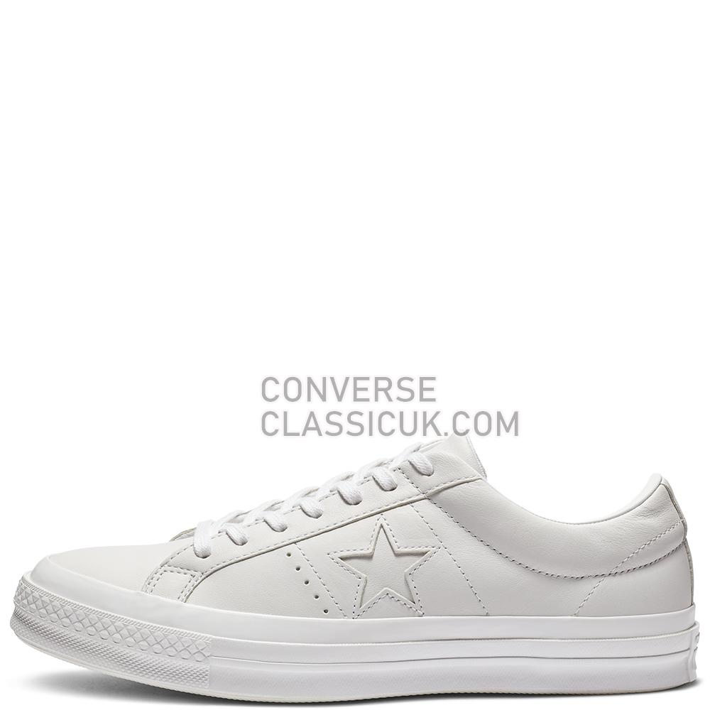 Converse One Star Leather Low Top Mens Womens Unisex 162884C White/White/White Shoes