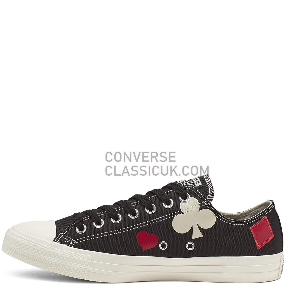 Converse Chuck Taylor All Star Queen of Hearts Low-Top Mens 165670C Black/Enamel/Red/Egret Shoes