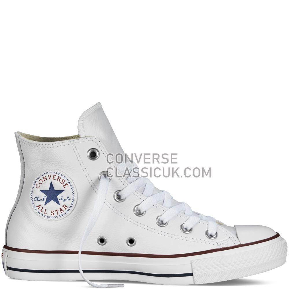 Converse Chuck Taylor All Star Leather Mens Womens Unisex 132169C White Shoes