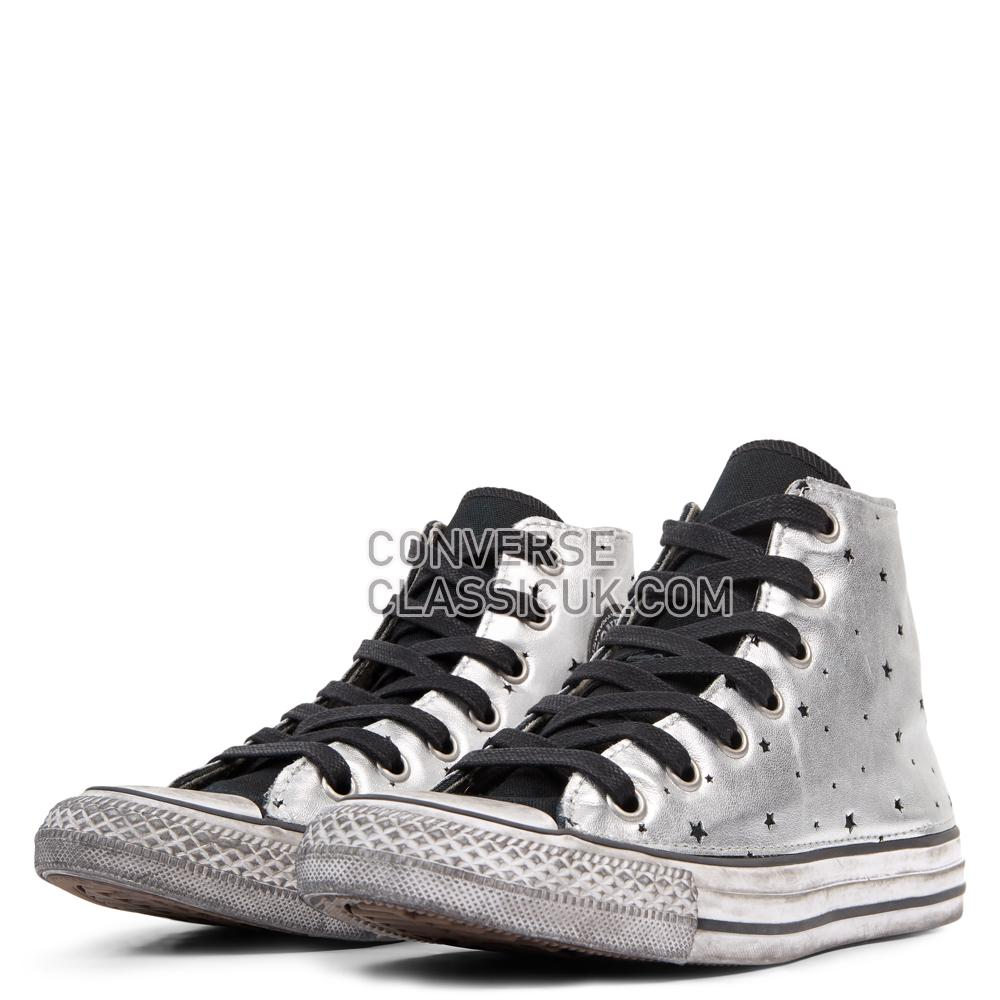 Converse Chuck Taylor All Star Metallic Silver Star Leather High Top Mens Womens Unisex 165755C Black/Metallic/Silver Shoes