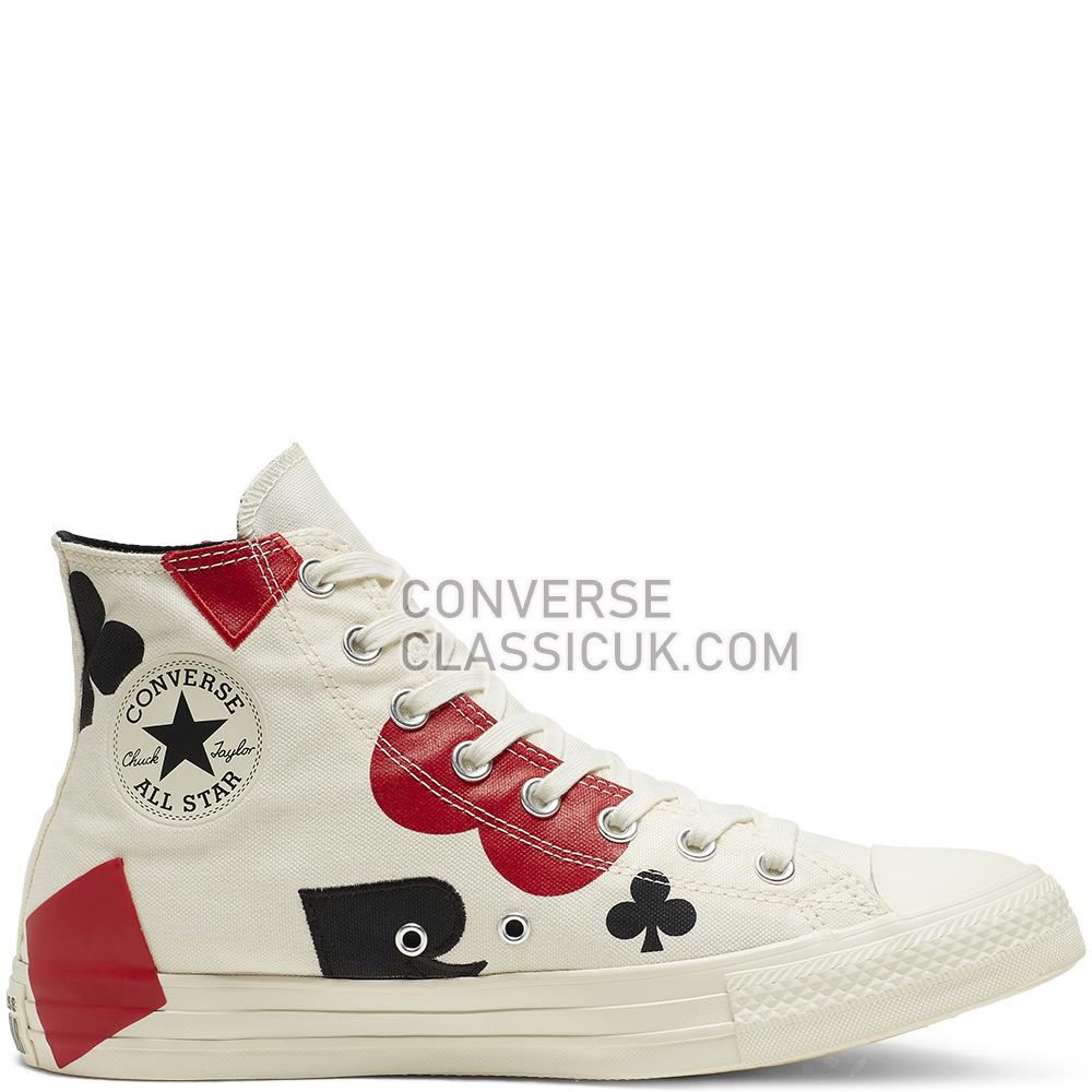 Converse Chuck Taylor All Star Queen of Hearts High-Top Mens 165669C Egret/Black/Enamel/Red Shoes