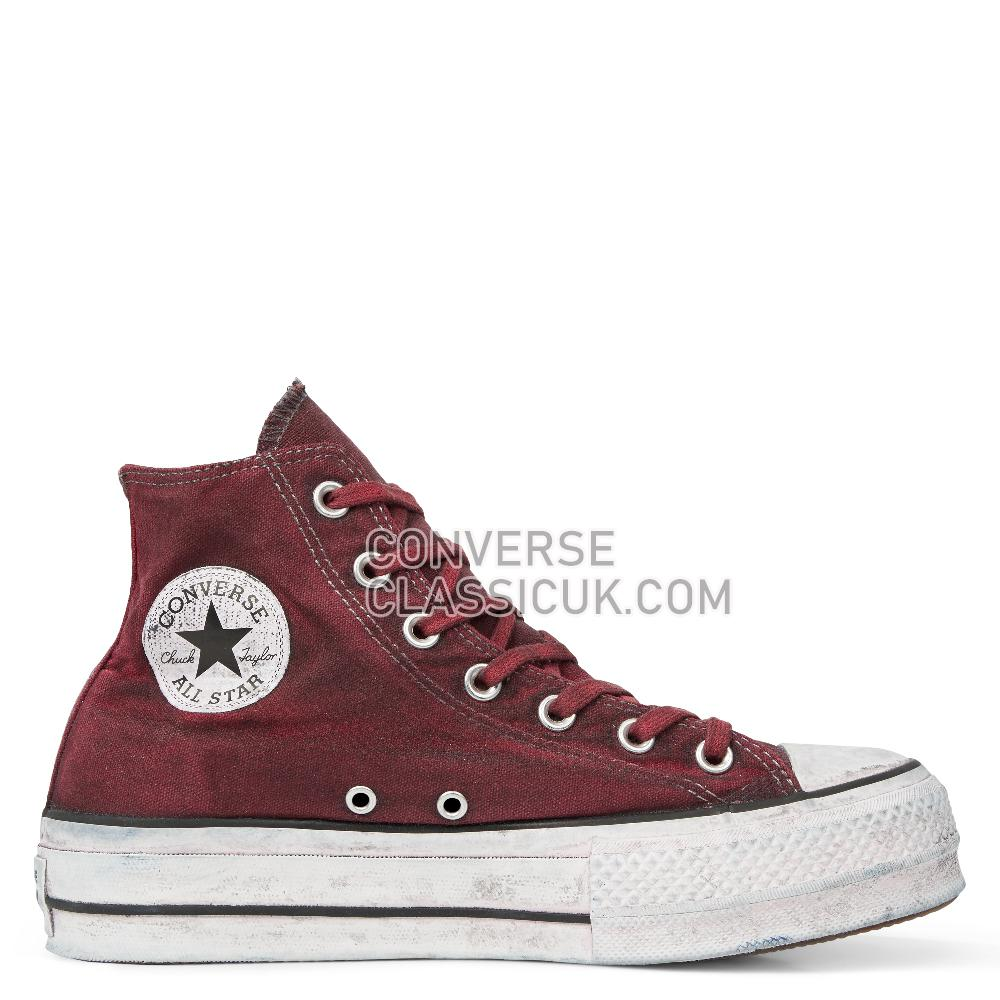 Converse Chuck Taylor All Star Canvas Rust Platform High Top Womens 565761C White/Rust/Maroon Shoes