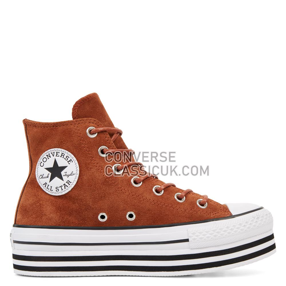 Converse Chuck Taylor All Star Platform Suede High Top Womens 565830C Cinnamon/White/Black Shoes