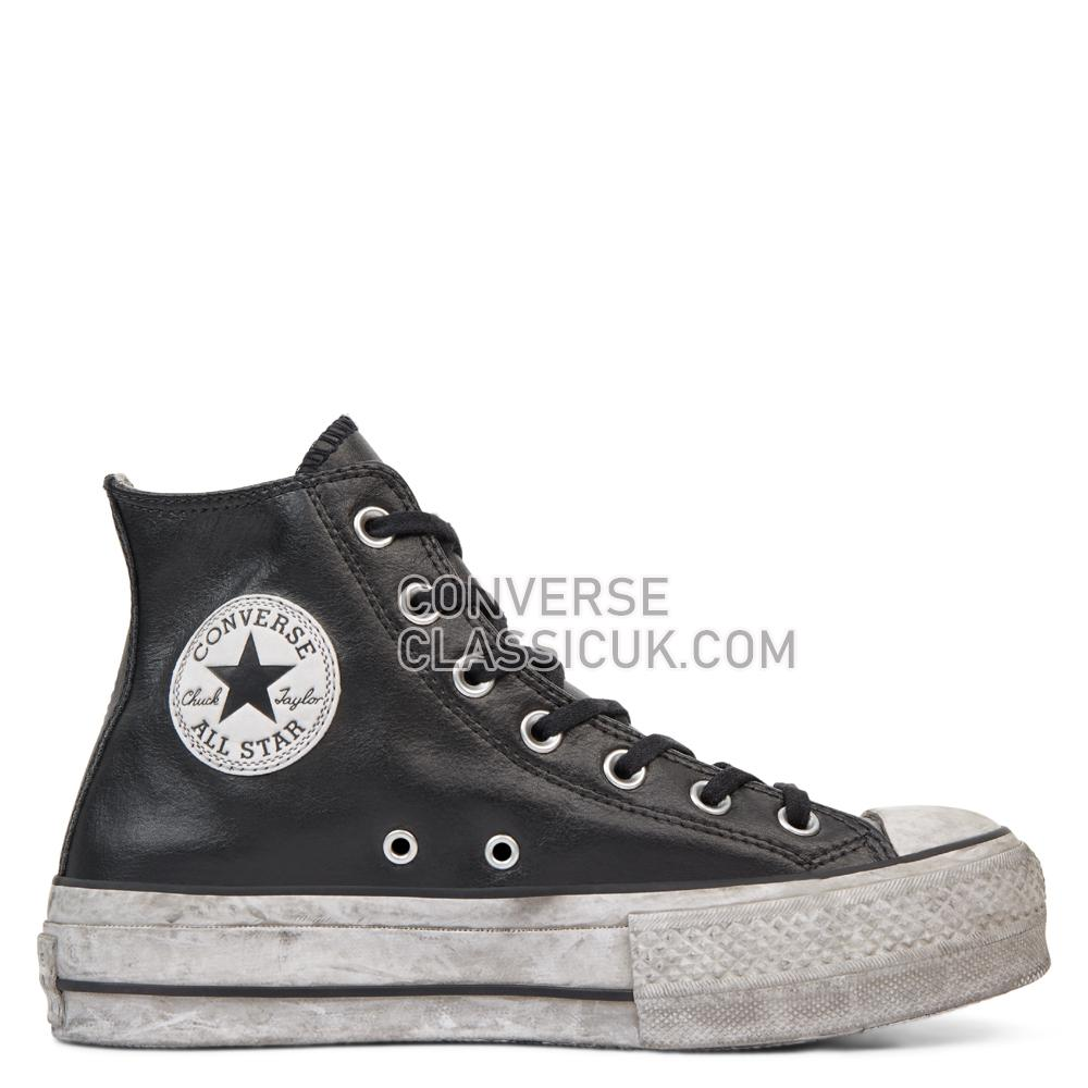Converse Chuck Taylor All Star Leather Smoke Platform High Top Womens 562908C Black/Black/Smoke/In Shoes