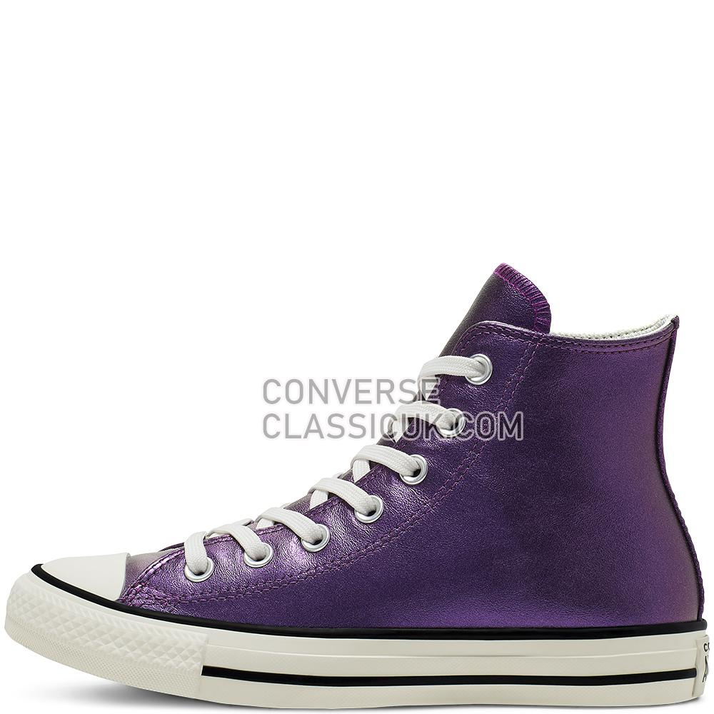 Converse Chuck Taylor All Star Shiny Metal High Top Womens 565824C Icon/Violet/Egret/Black Shoes
