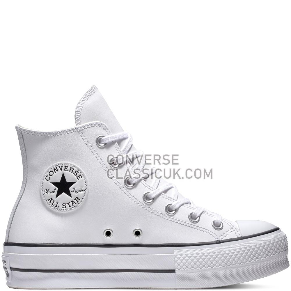 Converse Chuck Taylor All Star Lift Leather High-Top Womens 561676C White/Black/White Shoes