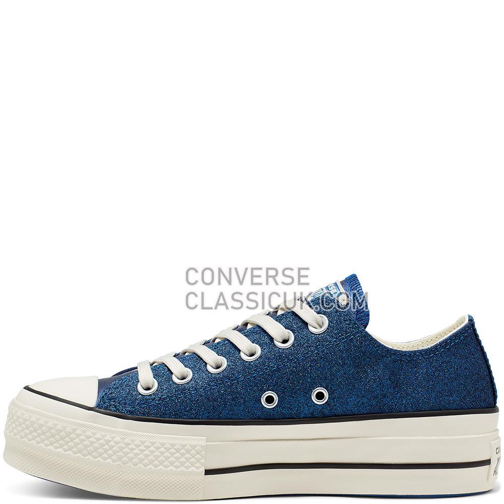 Converse Chuck Taylor All Star Shiny Metal Platform Low Top Womens 565825C Blue/Egret/Black Shoes
