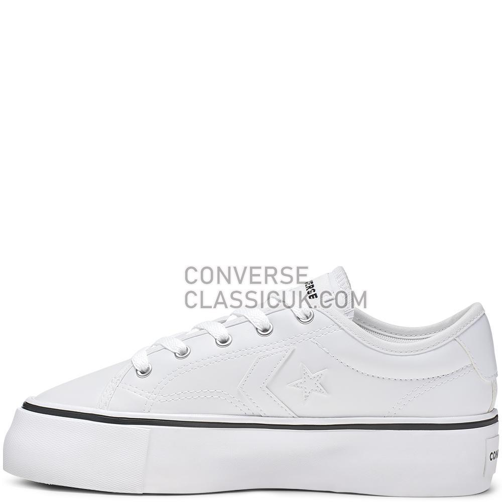 Converse Star Replay Platform Low Top Womens 565250C White/White/Black Shoes