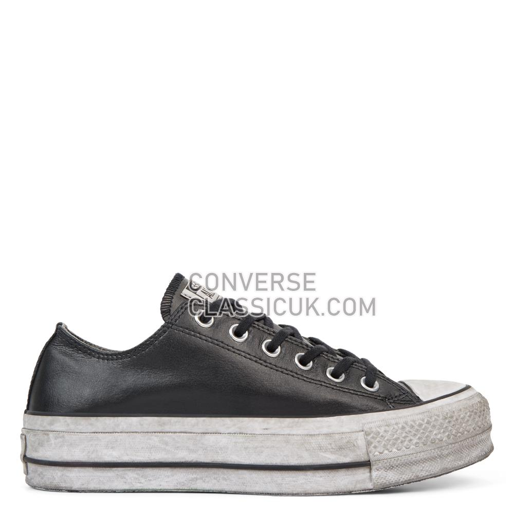Converse Chuck Taylor All Star Leather Smoke Platform Low Top Womens 562910C Black/Black/Smoke/In Shoes