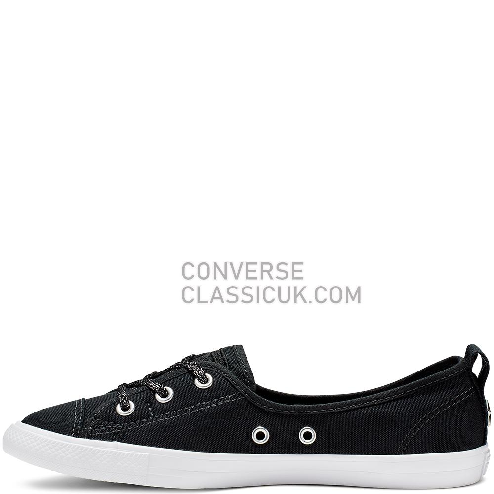 Converse Chuck Taylor All Star Ballet Lace Slip Womens 564987C Black/Silver/White Shoes