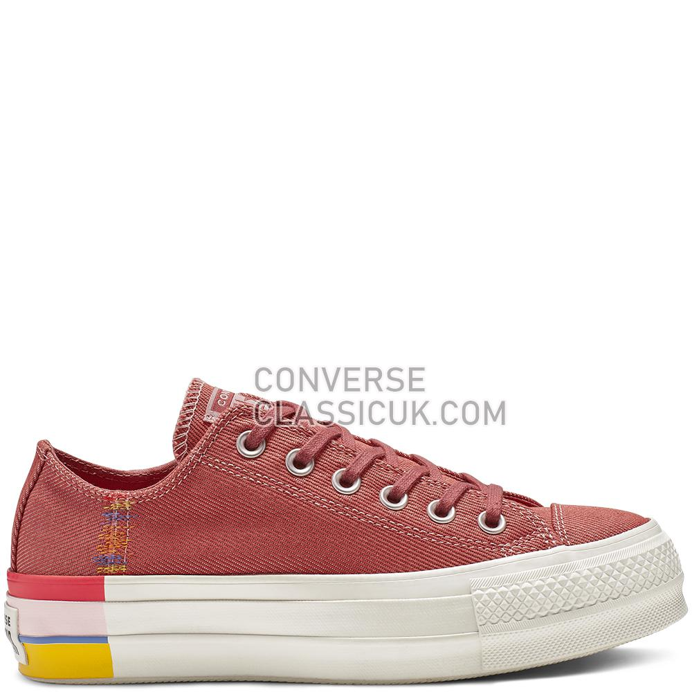 Converse CTAS Lift Ox Coastal Pink Rainbow Womens 564995C Coastal/Pink/Light/Redwood Shoes