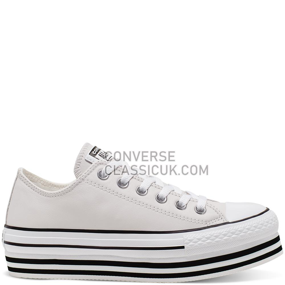 Converse CTAS Platform Layer Ox Pale Putty Leather IT SMU Womens 565829C Pale/Putty/White/Black Shoes