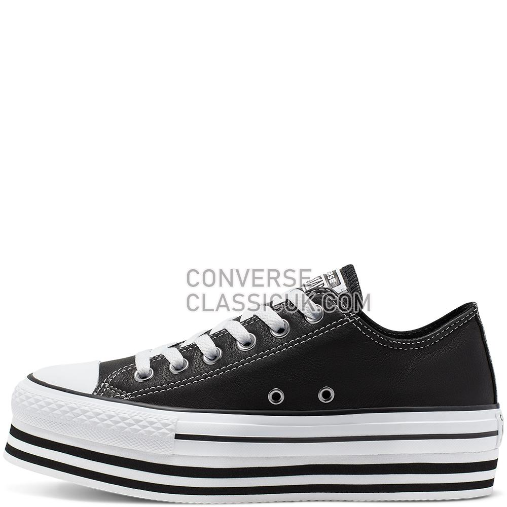 Converse CTAS Platform Layer Ox Black Leather IT SMU Womens 565828C Black/White/Black Shoes