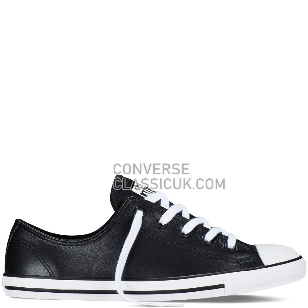 Converse Chuck Taylor All Star Dainty Leather Black Womens 537107C Black Shoes