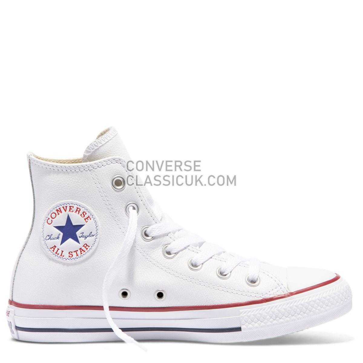 Converse Chuck Taylor All Star Leather High Top White Mens Womens Unisex 132169 White Shoes