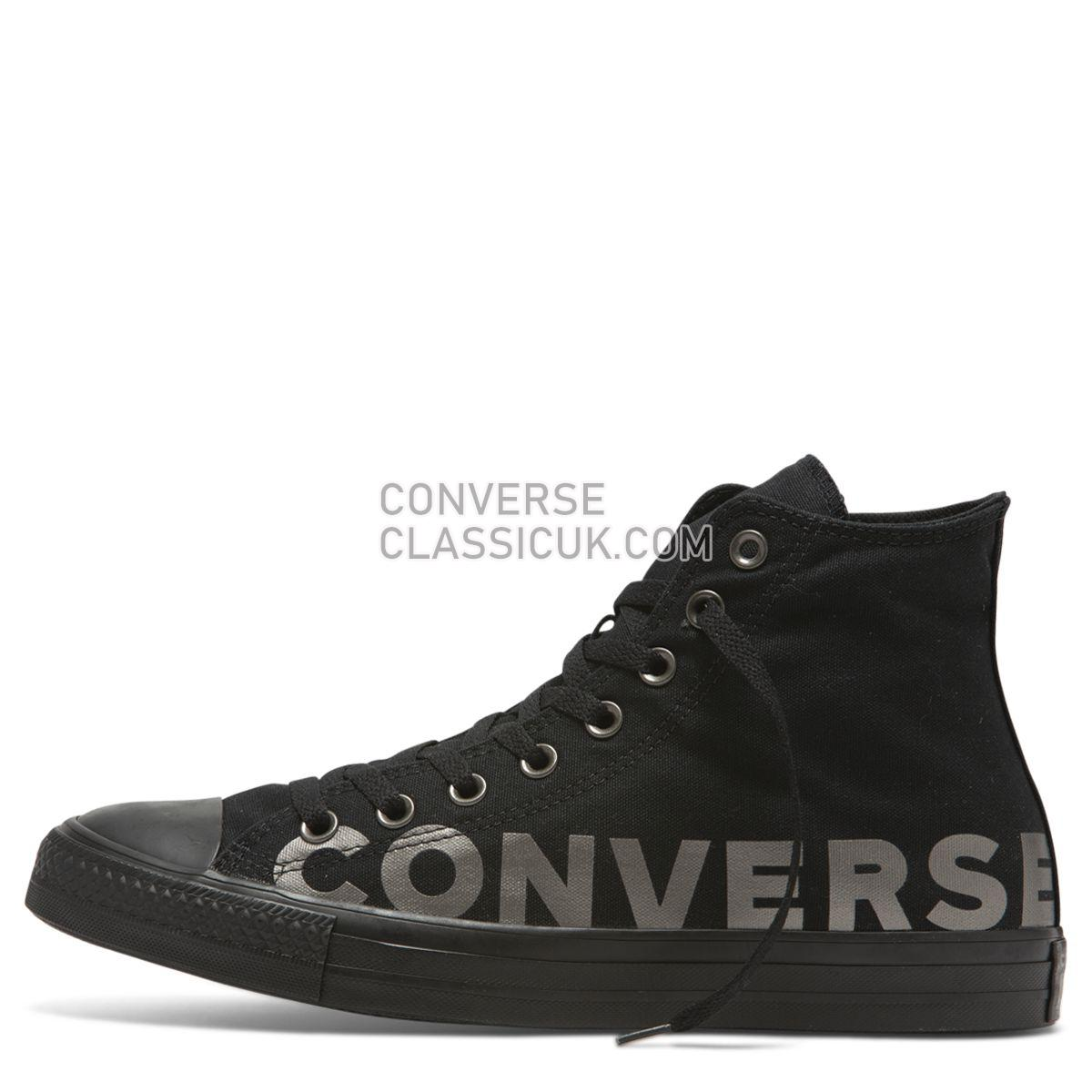 Converse Chuck Taylor All Star Wordmark High Top Black Mens Womens Unisex 165429 Black/Gunmetal/Black Shoes