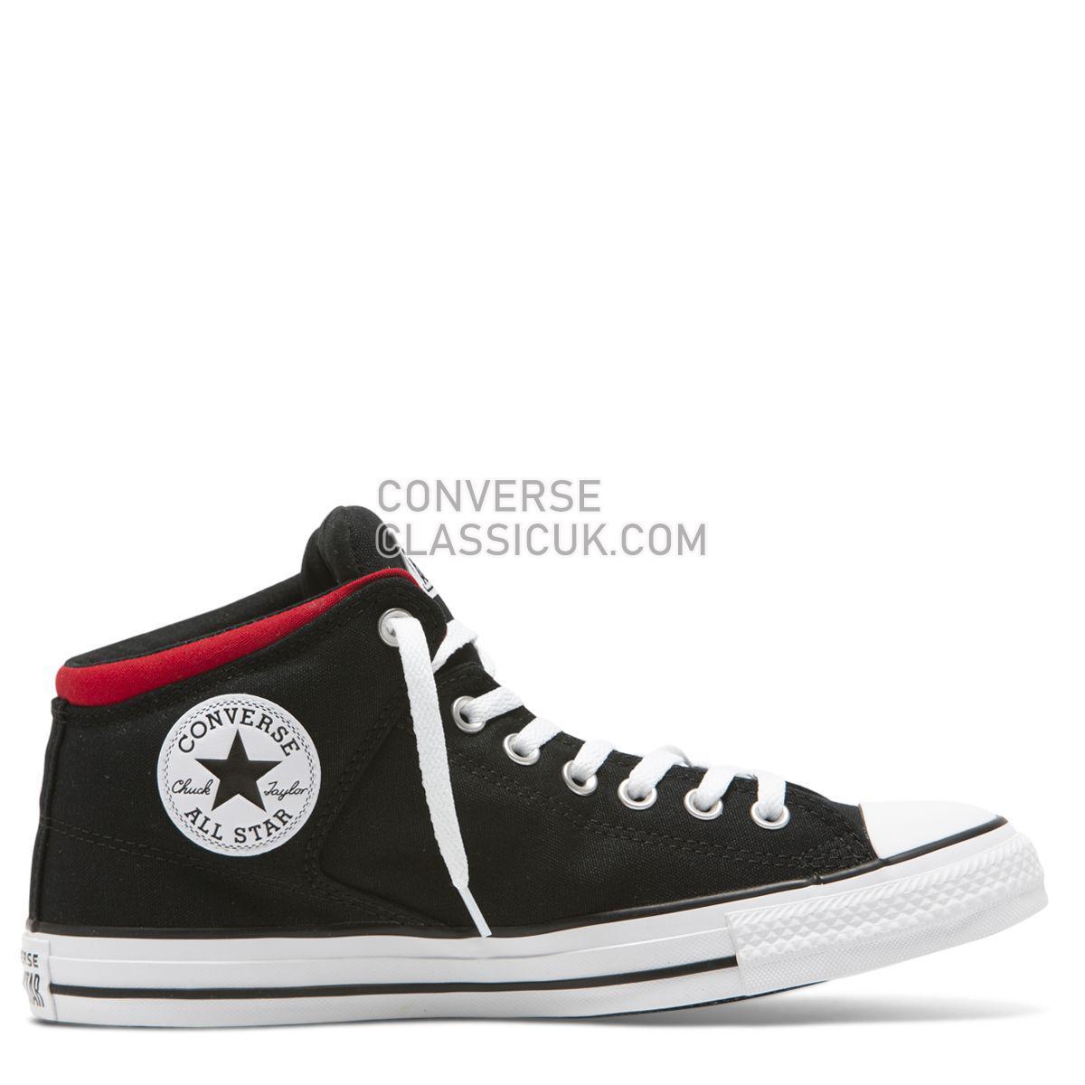 Converse Chuck Taylor All Star High Street Wordmark High Top Black Mens Womens Unisex 165433 Black/White/Enamel Red Shoes