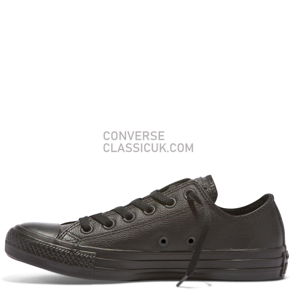 Converse Chuck Taylor All Star Leather Low Top Black Mono Mens Womens Unisex 135253 Black Mono Shoes