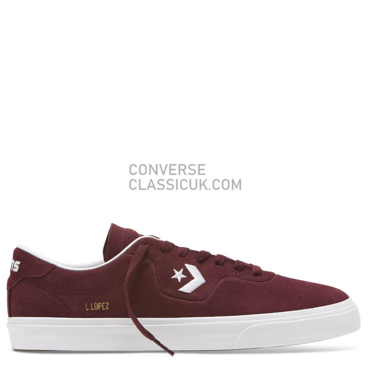 Converse CONS Louie Lopez Pro Classic Suede Low Top Dark Burgundy Mens 165272 Dark Burgundy/White/Gum Shoes