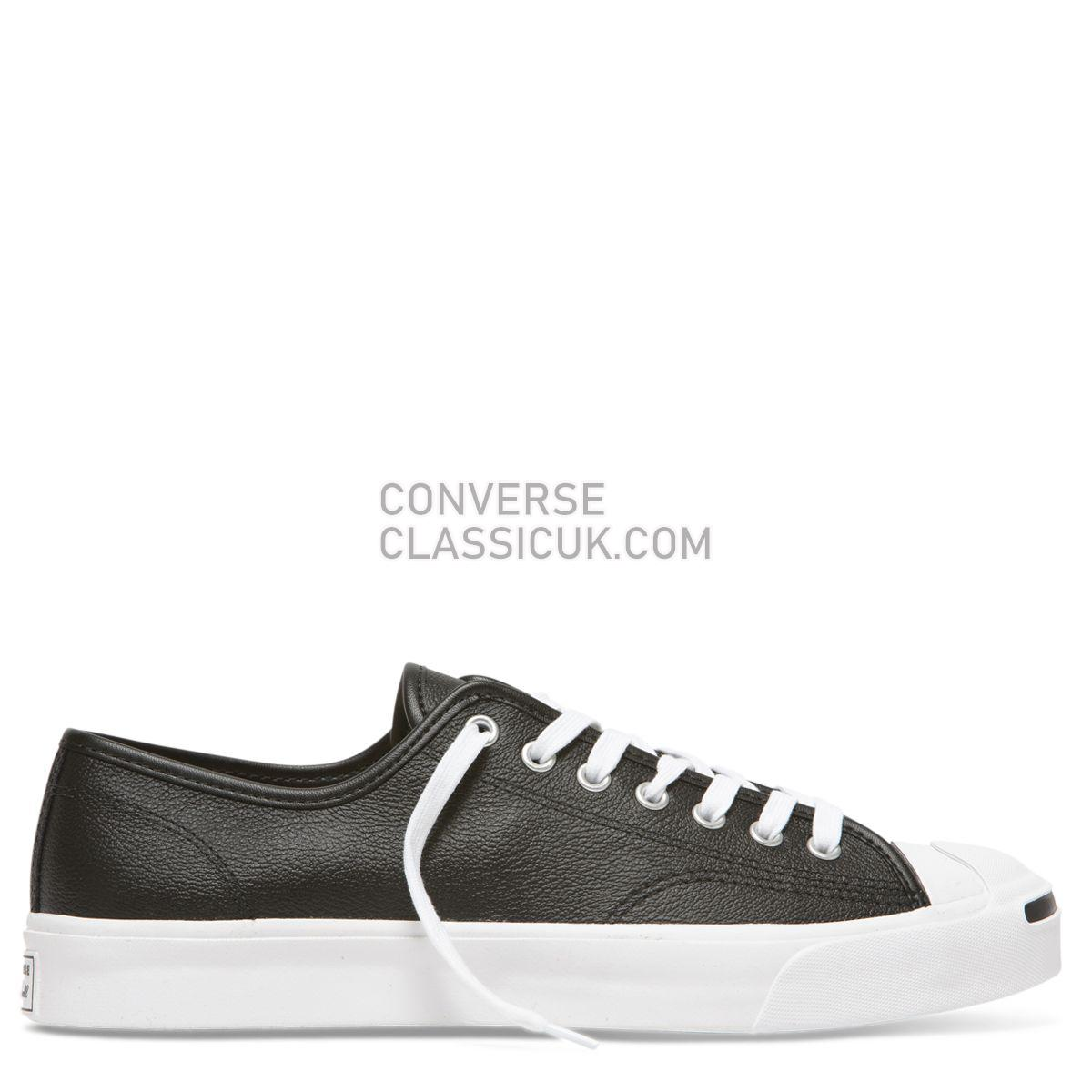 Converse Jack Purcell Foundational Leather Low Top Black Mens 164224 Black/White/White Shoes