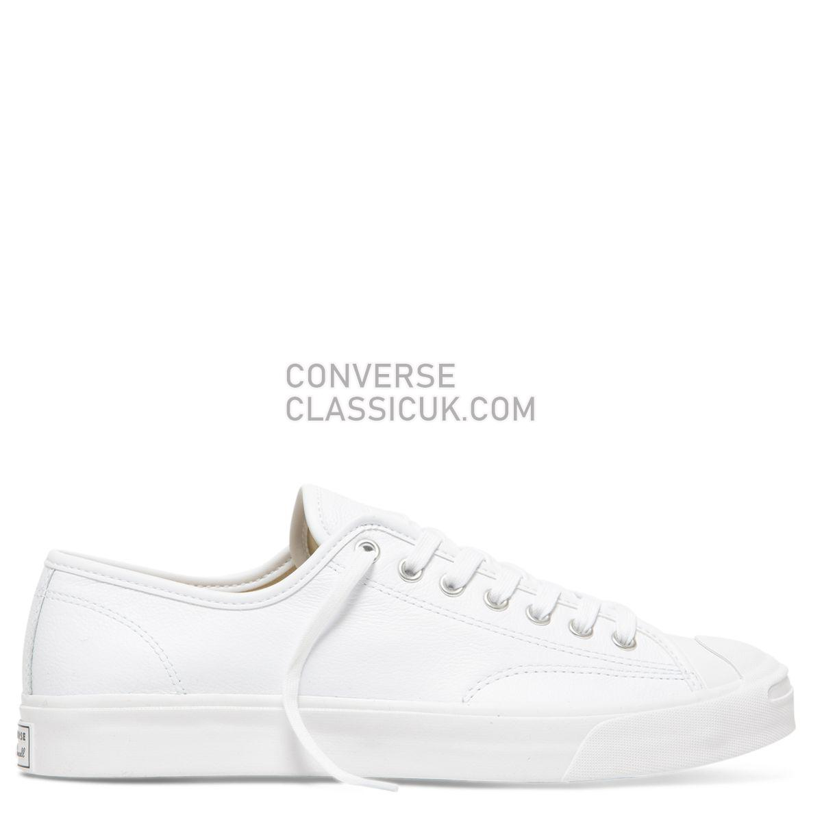Converse Jack Purcell Foundational Leather Low Top White Mono Mens 164225 White/White/White Shoes