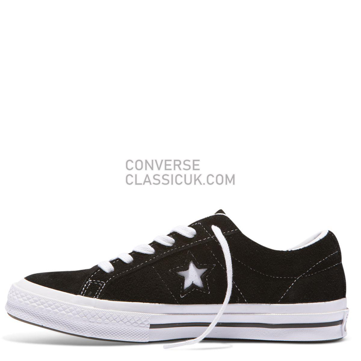 Converse One Star Premium Suede Low Top Black Mens Womens Unisex 158369 Black/White Shoes