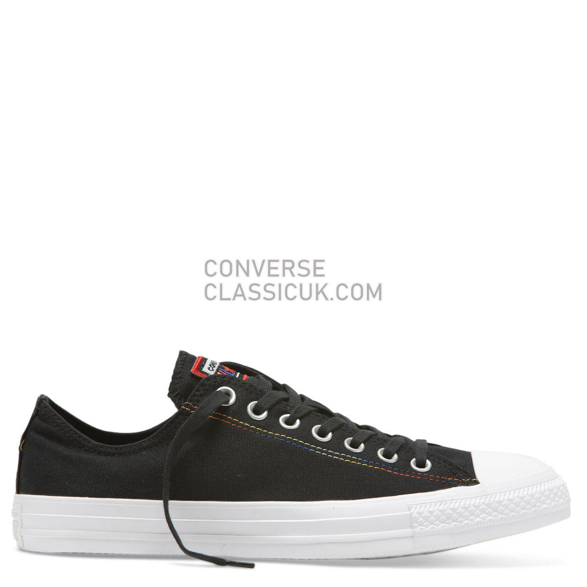 Converse Chuck Taylor All Star Rainbow Low Top Black Mens Womens Unisex 165426 Black/White/Habanero Red Shoes