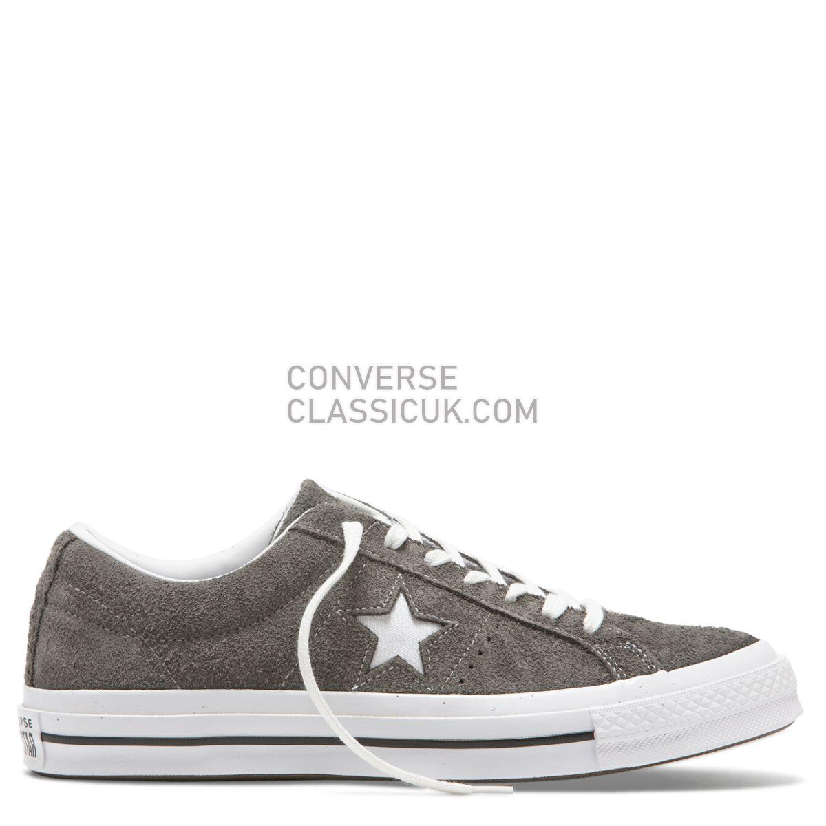 Converse One Star Vintage Suede Low Top Carbon Grey Mens Womens Unisex 165034 Carbon Grey/White/Black Shoes