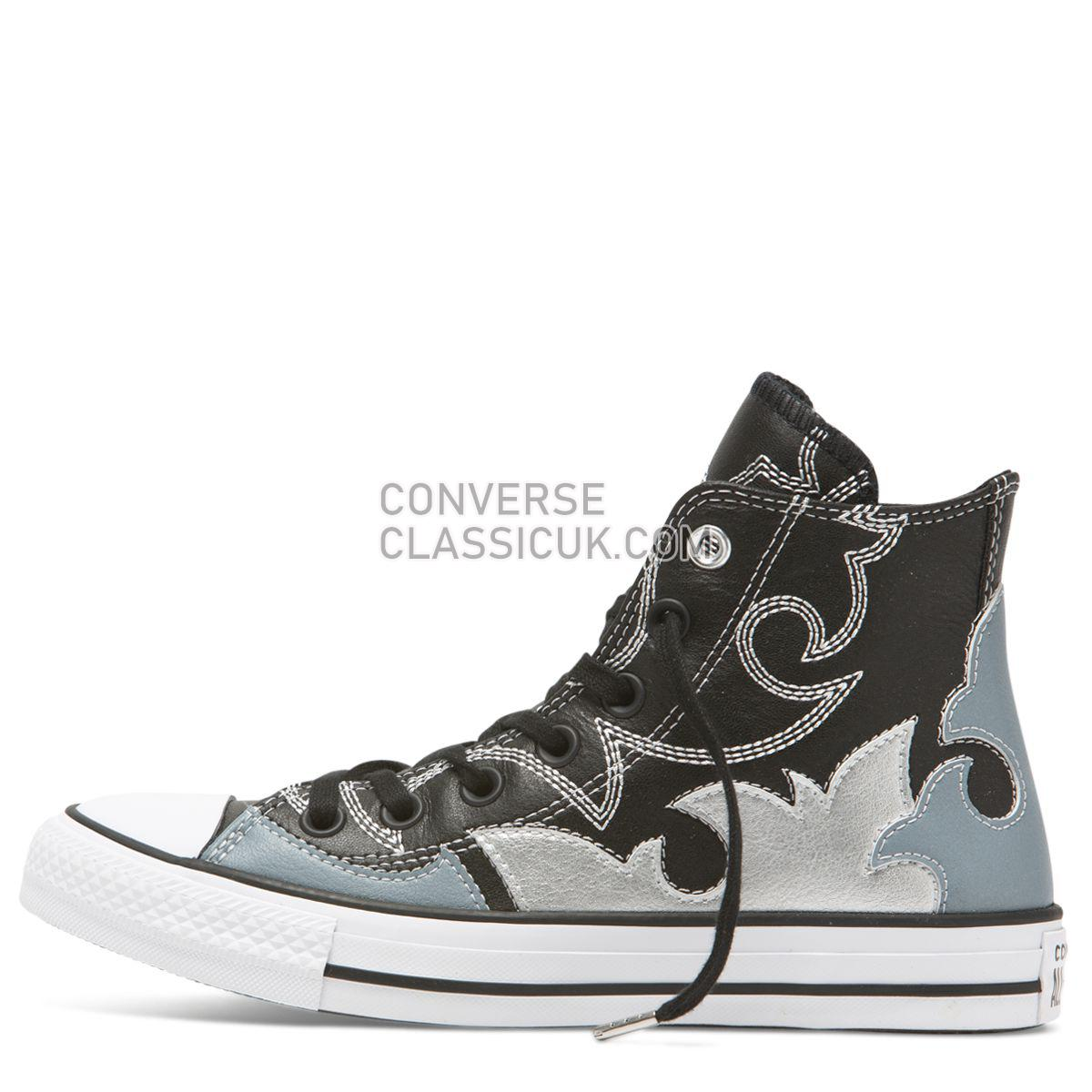 Converse Chuck Taylor All Star Fashion Week High Top Black Womens 564953 Black/Antique Blue/Pure Silver Shoes