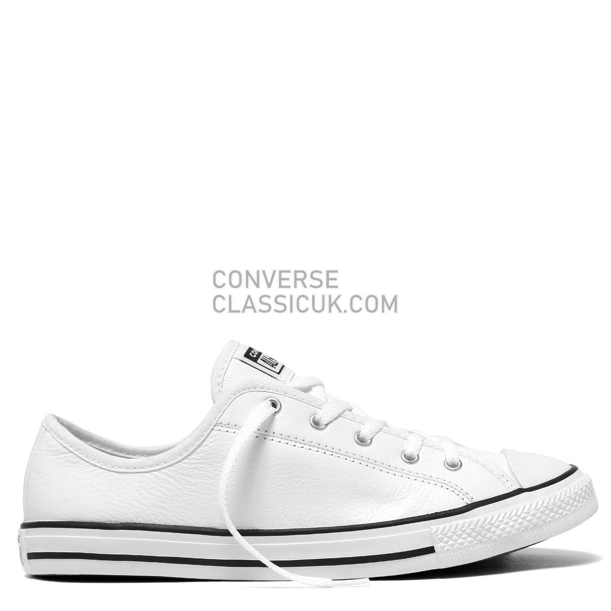 Converse Chuck Taylor All Star Dainty Leather Low Top White Womens 564984 White/Black/White Shoes