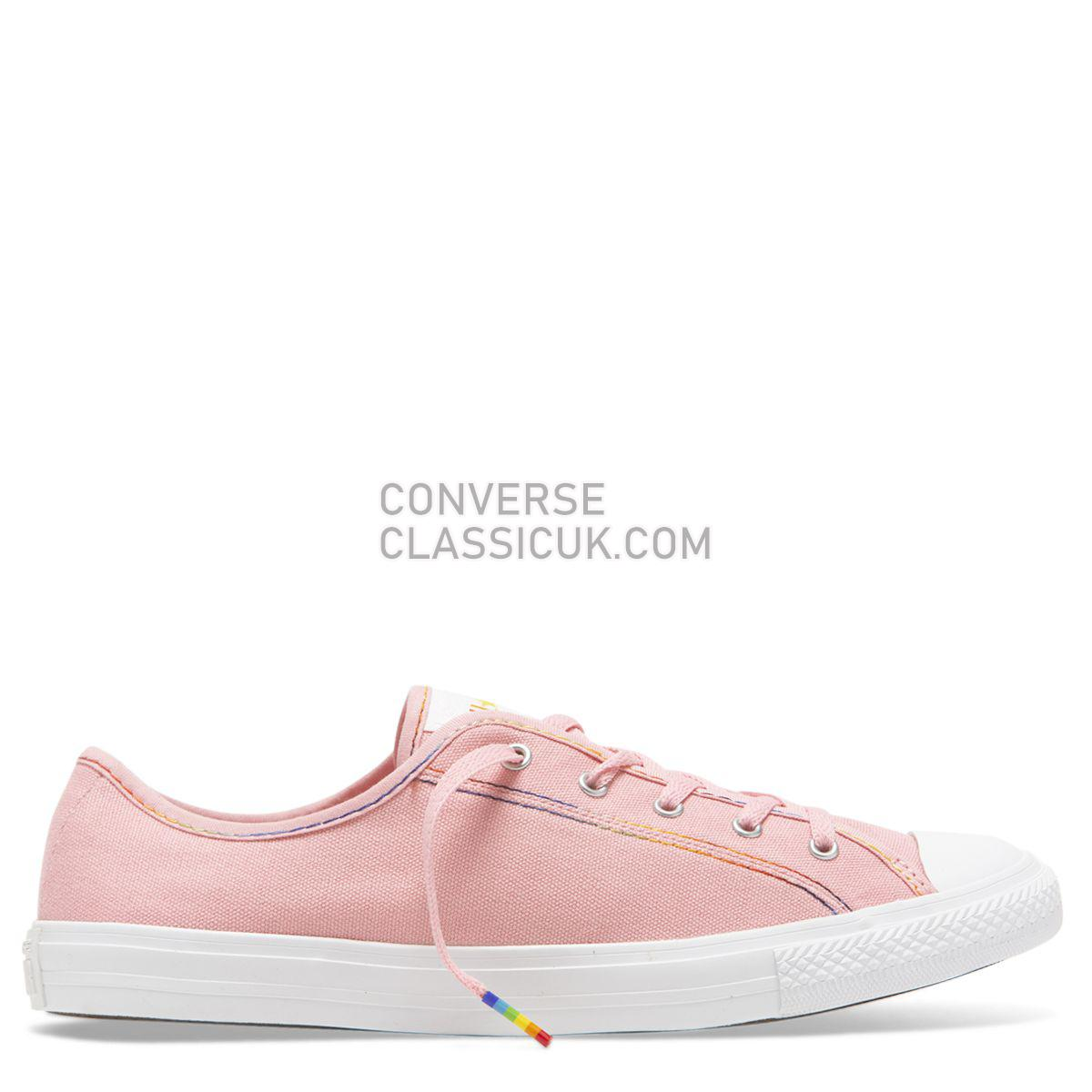 Converse Chuck Taylor All Star Dainty Rainbow Low Top Coastal Pink Womens 564980 Coastal Pink/Yellow/White Shoes
