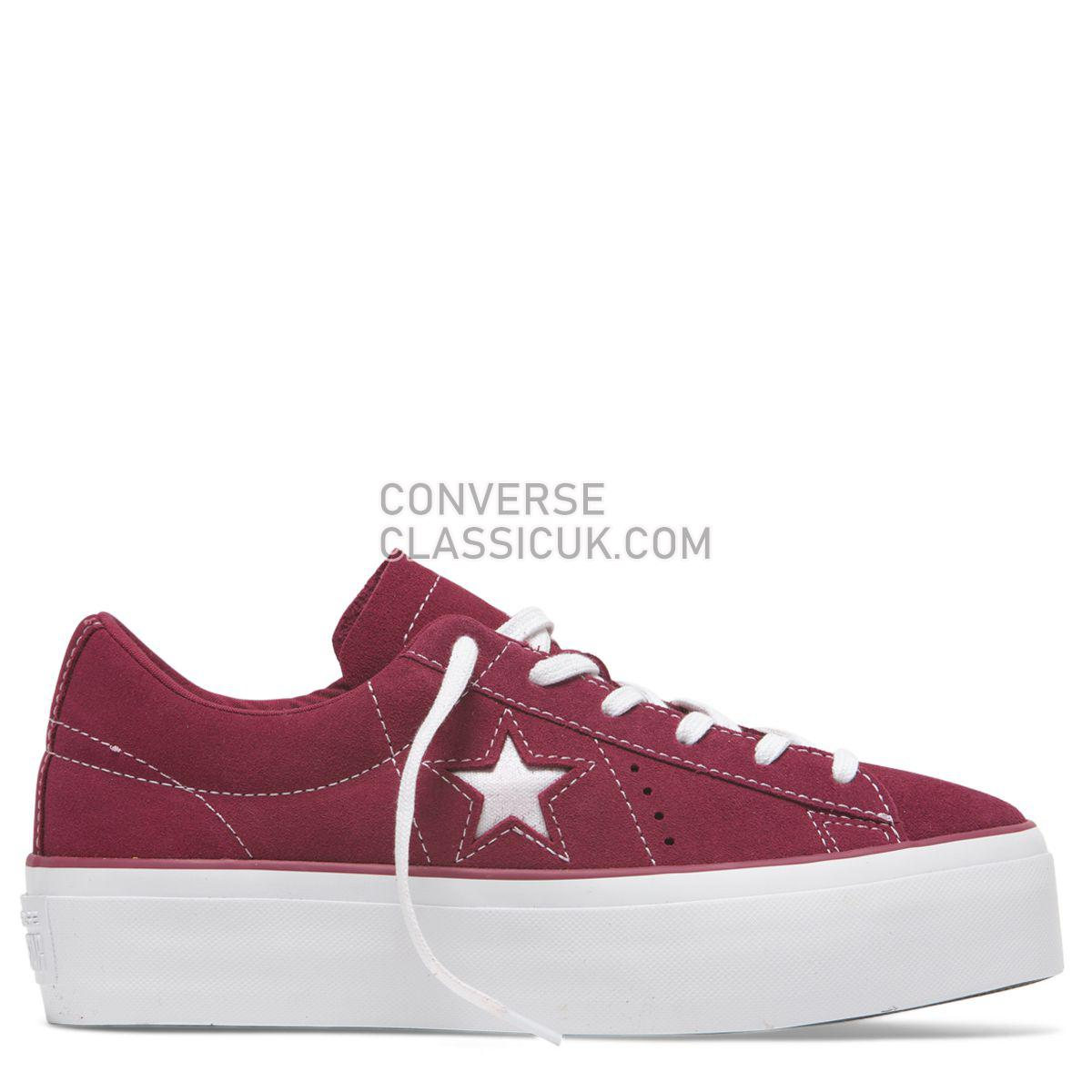 Converse One Star Platform Low Top Field Rhubarb Womens 563488 Rhubarb/White/White Shoes
