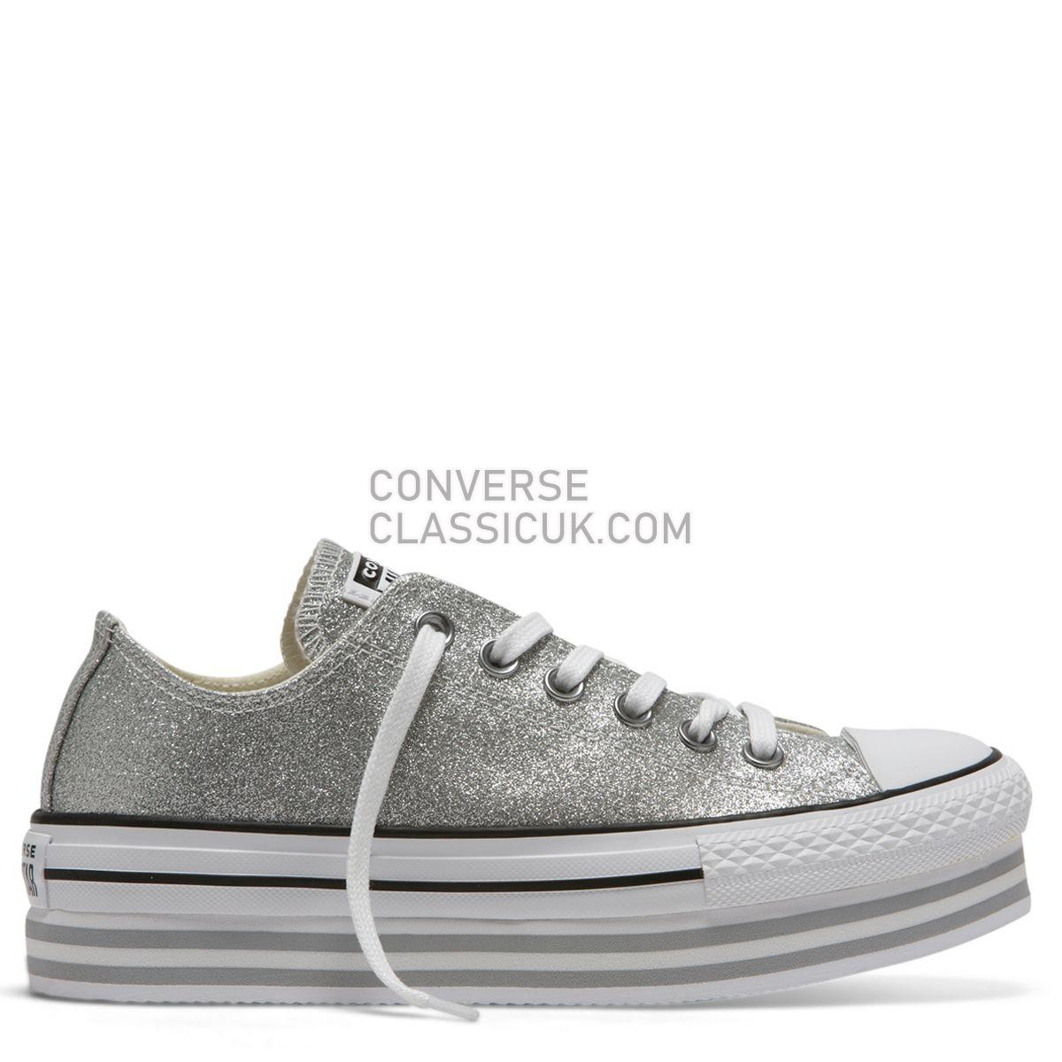 Converse Chuck Taylor All Star Shiny Metal Platform Low Top Silver Womens 564878 Silver/Wolf Grey/White Shoes