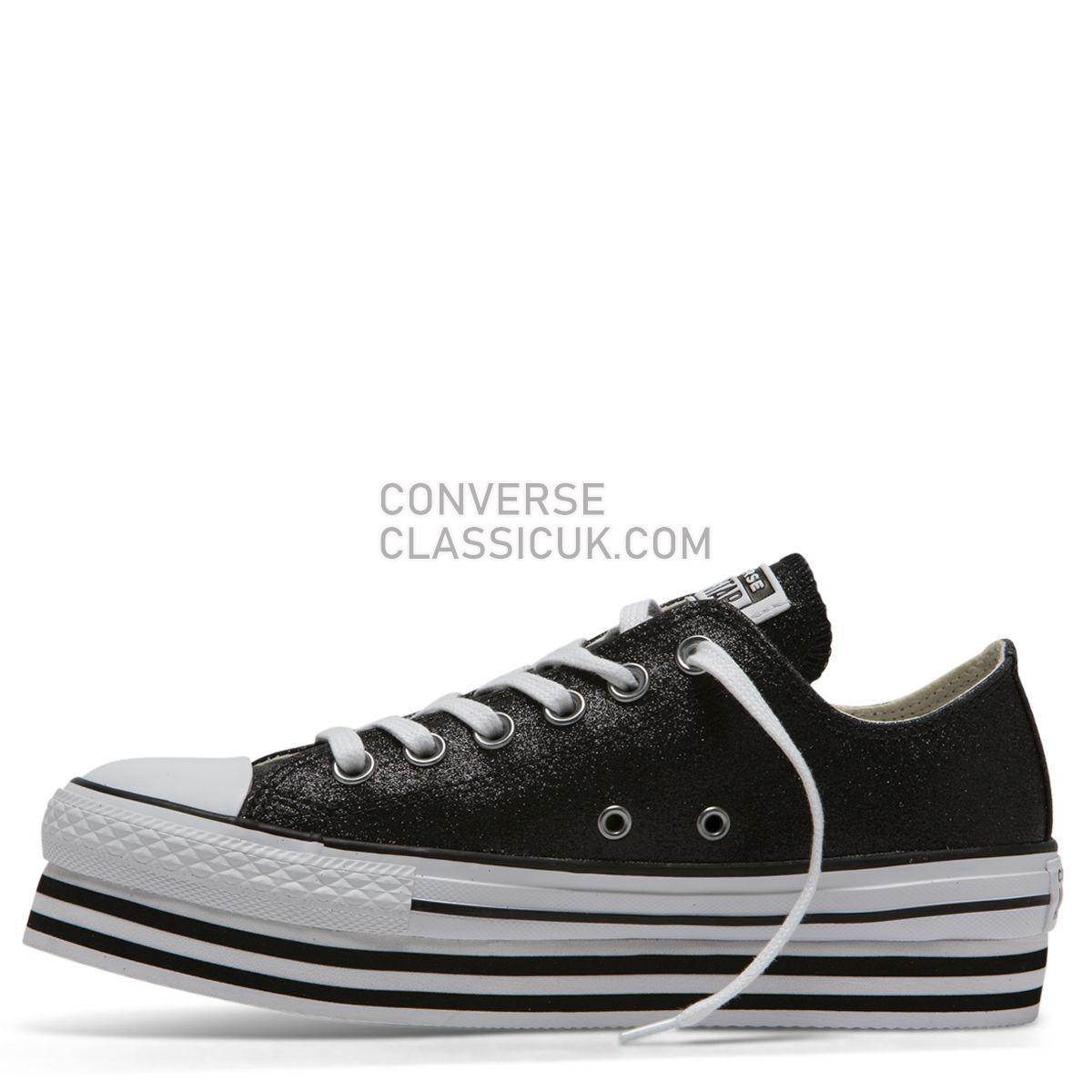 Converse Chuck Taylor All Star Shiny Metal Platform Low Top Black Womens 564877 Black/Black/White Shoes