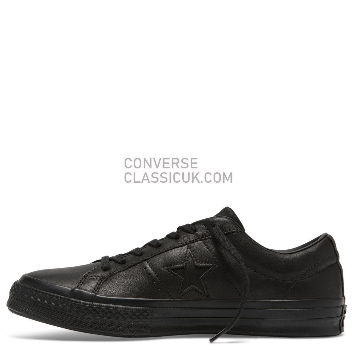 Converse One Star Leather Low Top Black/Black Mens Womens Unisex 163110 Black/Black/Black Shoes
