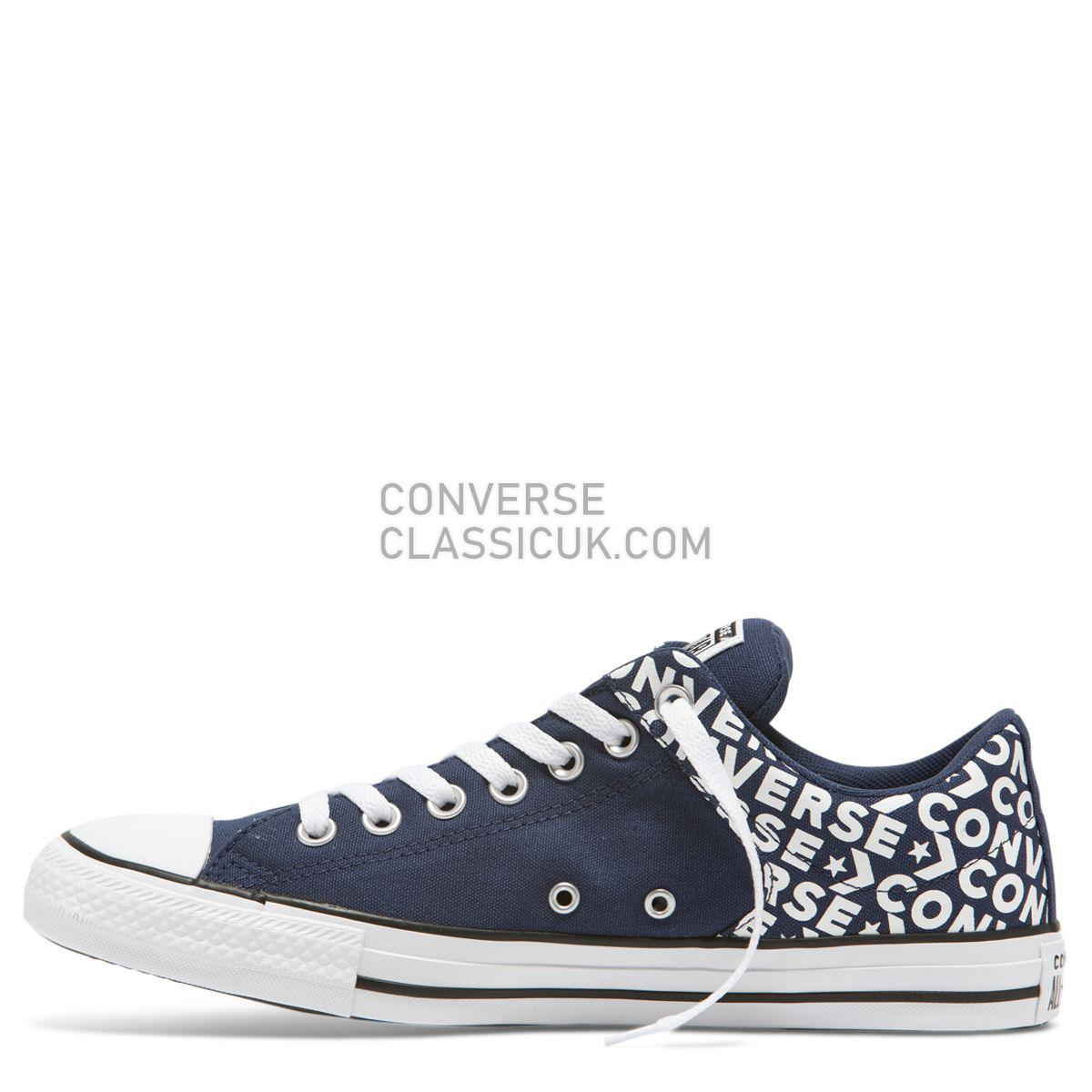 Converse Chuck Taylor All Star Street Wordmark Low Top Navy Mens Womens Unisex 163956 Navy/White/Navy Shoes