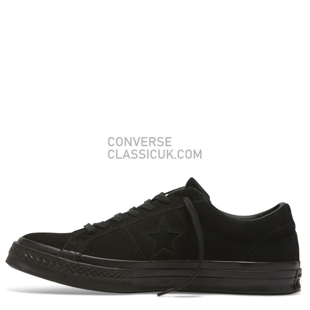 Converse One Star Suede Low Top Black Mono Mens Womens Unisex 162950 Black/Black/Black Shoes