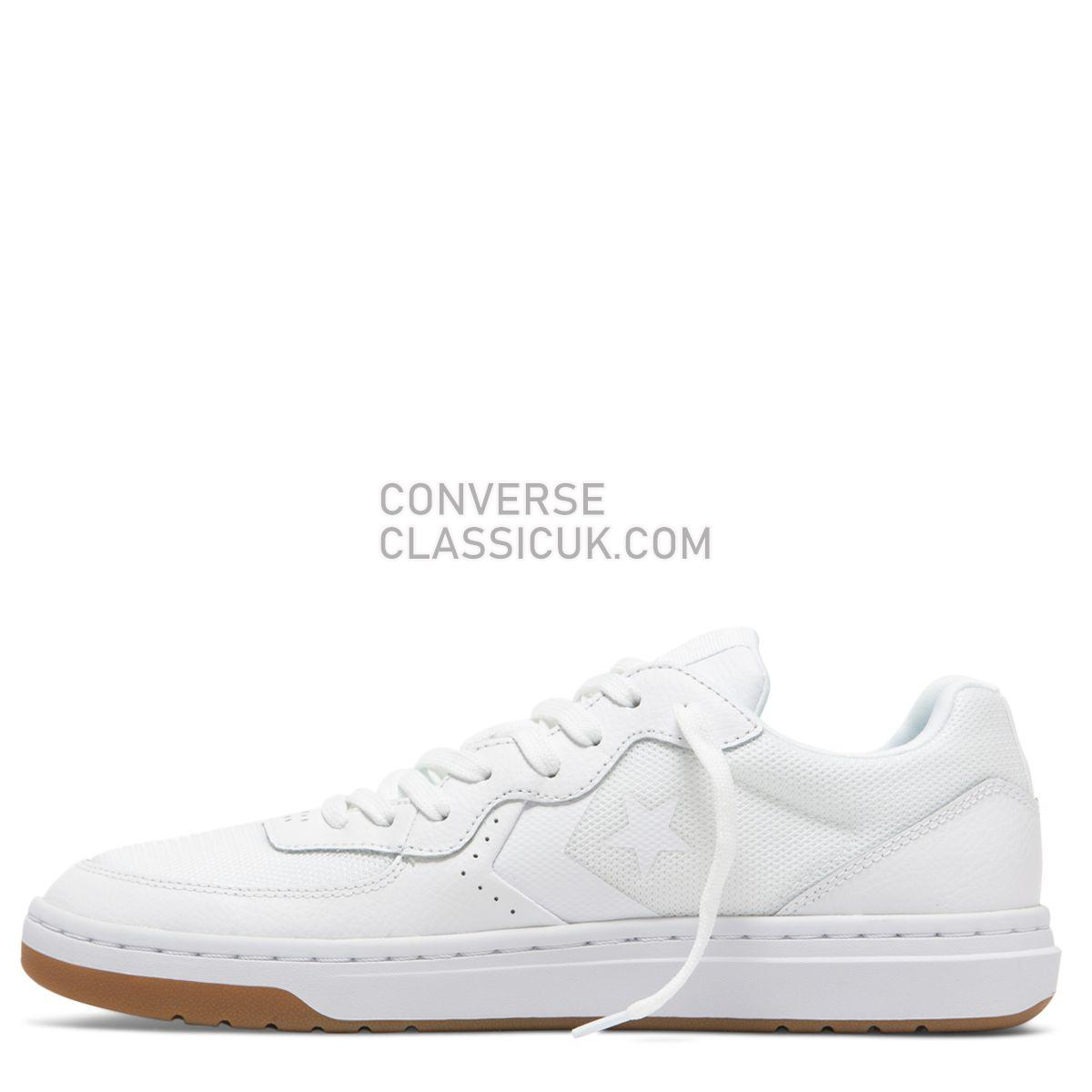 Converse Rival Leather Low Top White/White Mens 163206 White/White/Gum Shoes