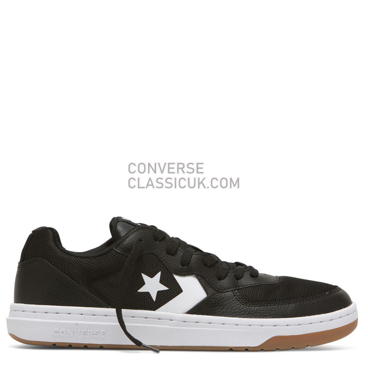 Converse Rival Leather Low Top Black/White Mens 163207 Black/White/Gum Shoes
