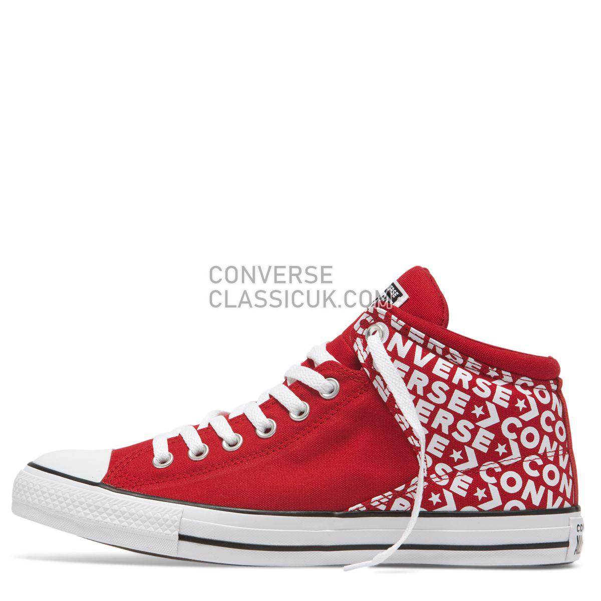 Converse Chuck Taylor All Star High Street Wordmark Mid Enamel Red Mens Womens Unisex 163955 Enamel Red/Enamel Red/White Shoes