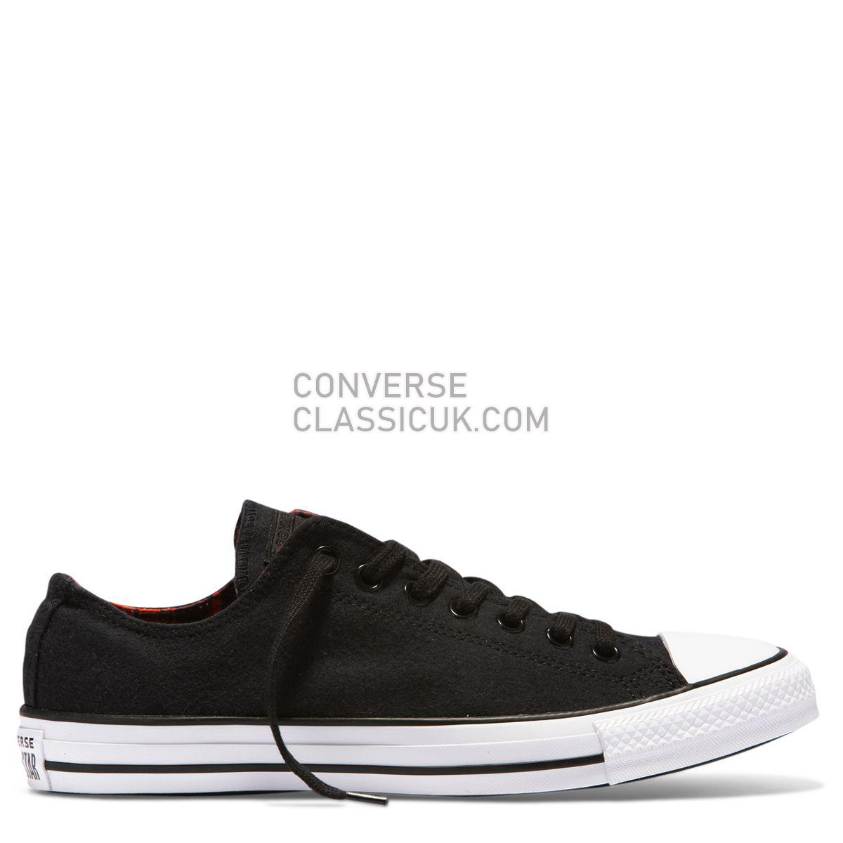 Converse Chuck Taylor All Star Plaid Low Top Black Mens Womens Unisex 162400 Black/Bright Poppy/Black Shoes