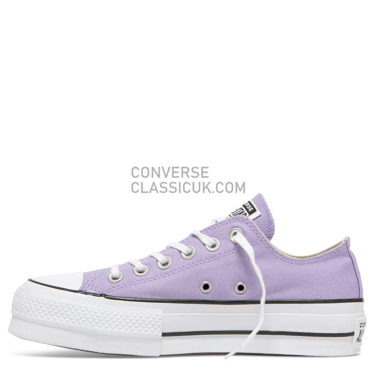 Converse Chuck Taylor All Star Seasonal Lift Low Top Washed Lilac Womens 564384 Washed Lilac/Black/White Shoes