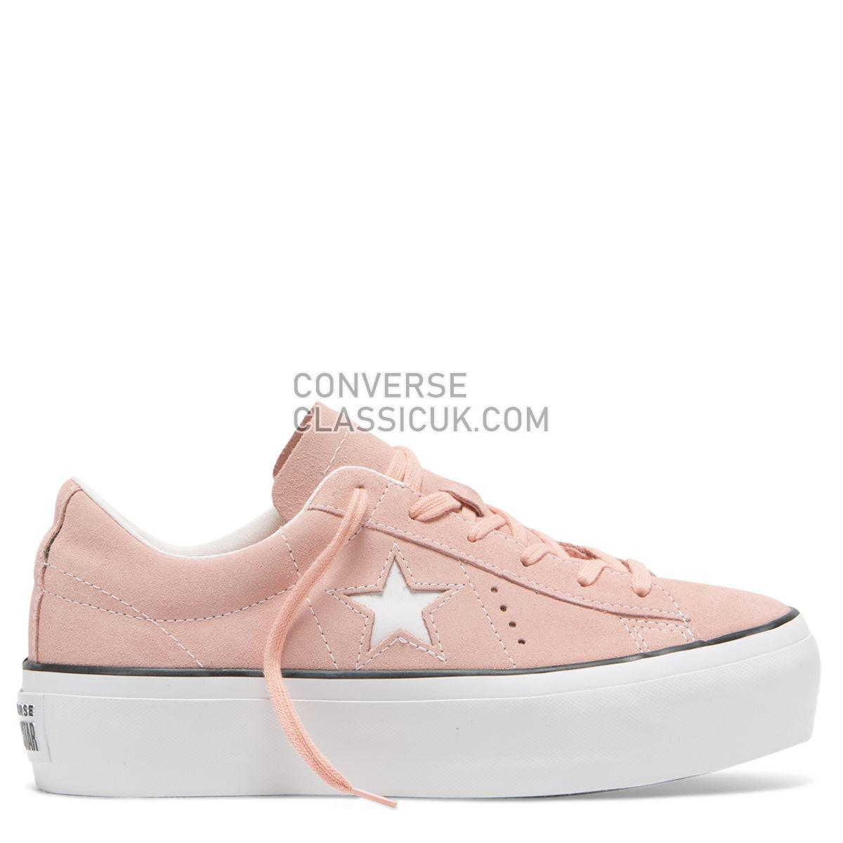 Converse One Star Platform Low Top Bleached Coral Womens 564382 Bleached Coral/Black/White Shoes
