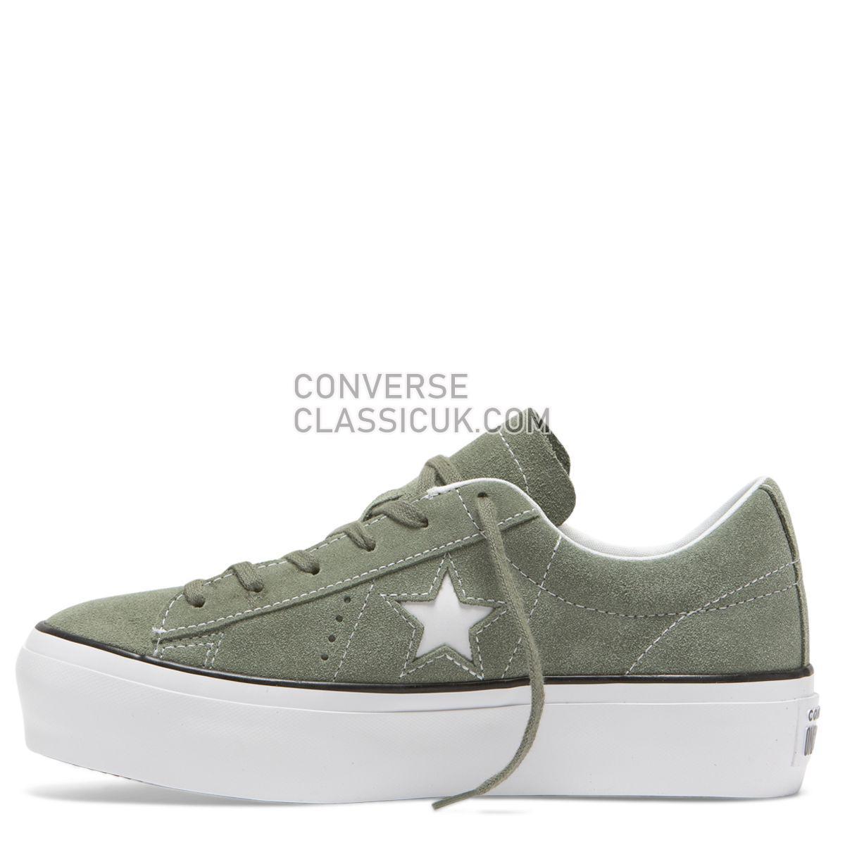 Converse One Star Platform Low Top Vintage Lichen Womens 564383 Vintage Lichen/Black/White Shoes