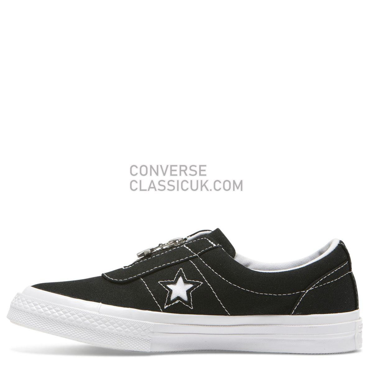 Converse One Star Sunbaked Slip Low Top Black Womens 564206 Black/White/White Shoes