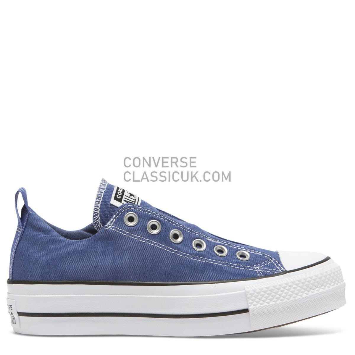 Converse Chuck Taylor All Star Lift Cali Mood Slip Low Top Washed Indigo Womens 564339 Washed Indigo/White/Black Shoes