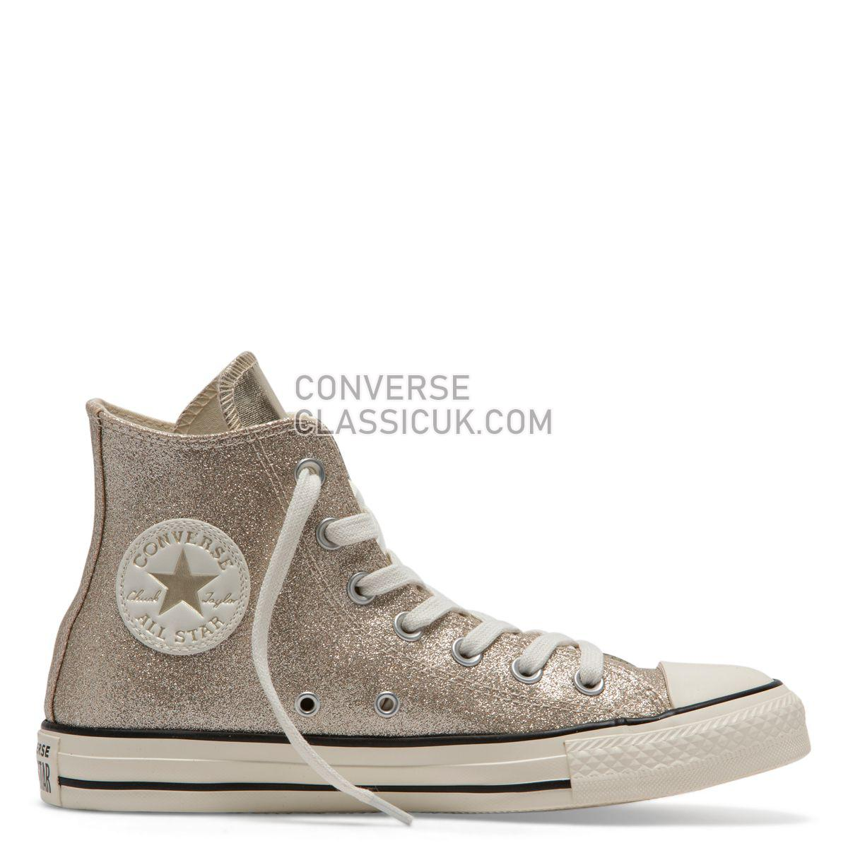 Converse Chuck Taylor All Star Shiny Metal High Top Light Gold Womens 564851 Light Gold/Egret/Black Shoes