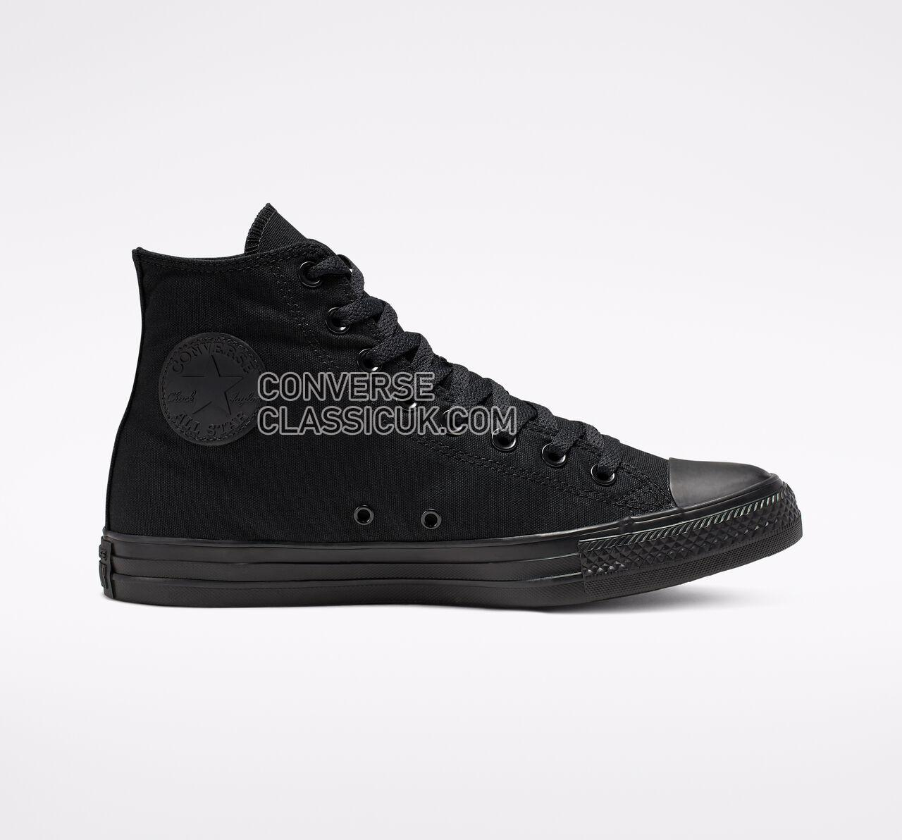 Converse Chuck Taylor All Star High Top Mens Womens Unisex M3310 Black Monochrome Shoes